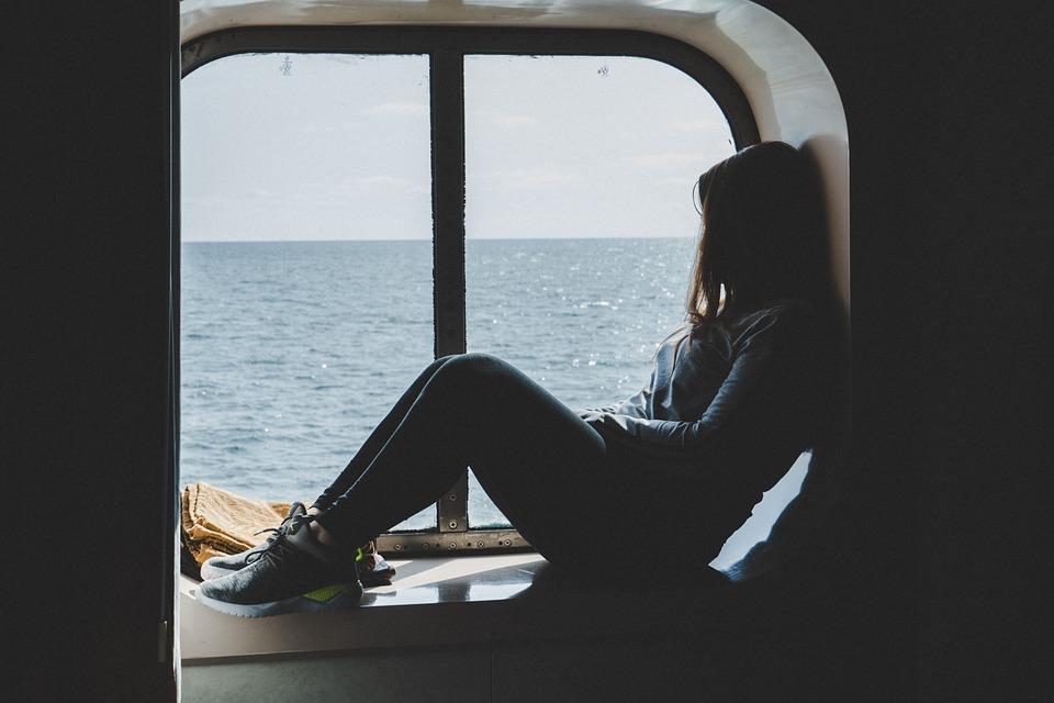 Girl, Window, Sea, Cruise, Travel
