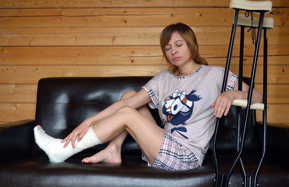 Foot Fracture, Girl, Couch, Crutches, Cast, Injury