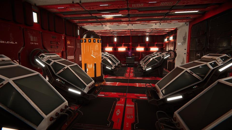 Sci-fi, Corridor, Modular, Cryo, Tubes, Stasis