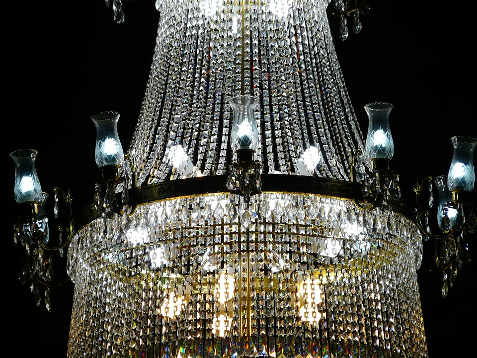 Chandelier, Crystal, Glass, Light, White, Candles