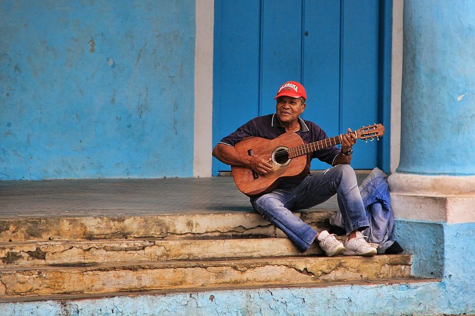 Musician, Man, Cuban, Cuba, Guitar, Stairs, Blue