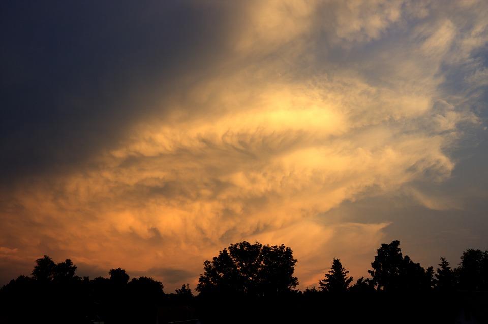 Afterglow, Clouded Sky, Clouds, Sky, Cumulus Clouds