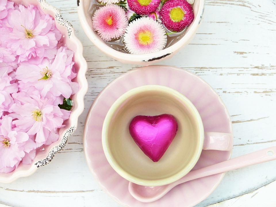 Heart, Pink, Cup, Flowers, Petals, Still Life