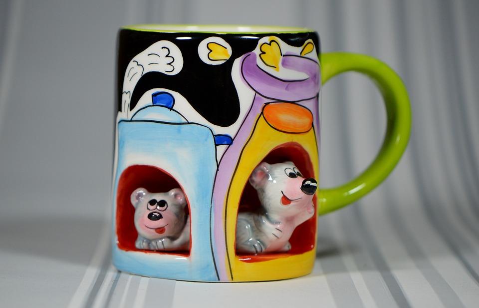 Cup, Mice, Porcelain, Fig, Porcelain Figurine, Funny