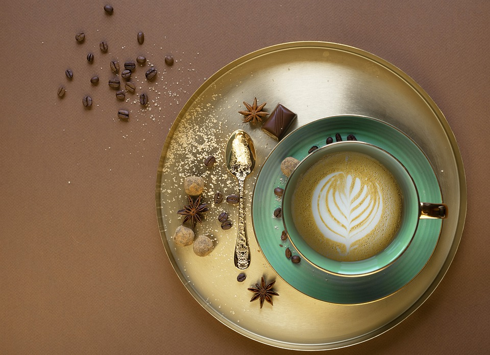 Coffee, Gold, Cup, Green, Still Life, Spoon, Drink