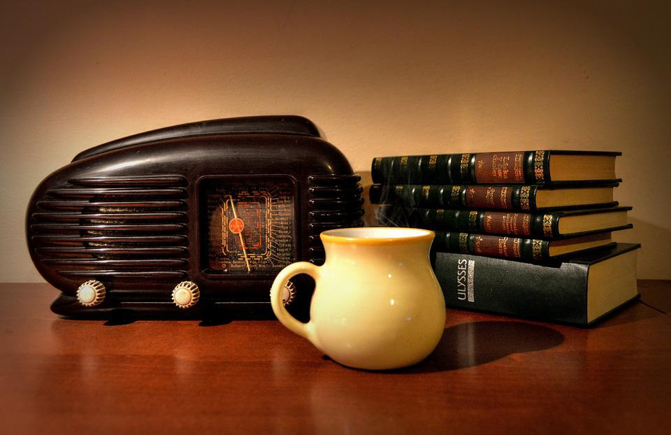 Old, Radio, Books, Cup, Retro, Still Life, Historical