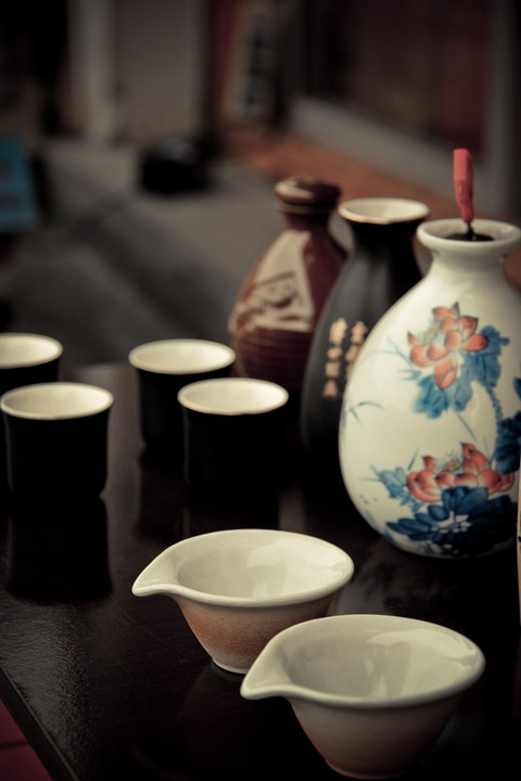 Bottle, Cup, Ancient Costume, Wine, Lotus, Elegant