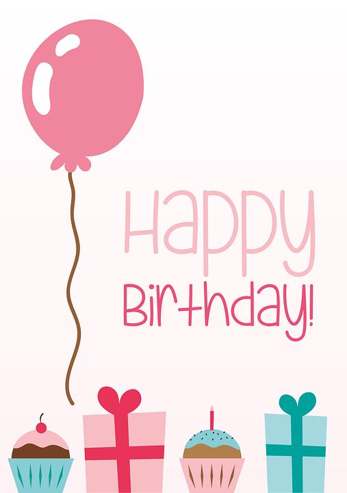Birthday Greeting Card Balloon Gifts Cupcakes