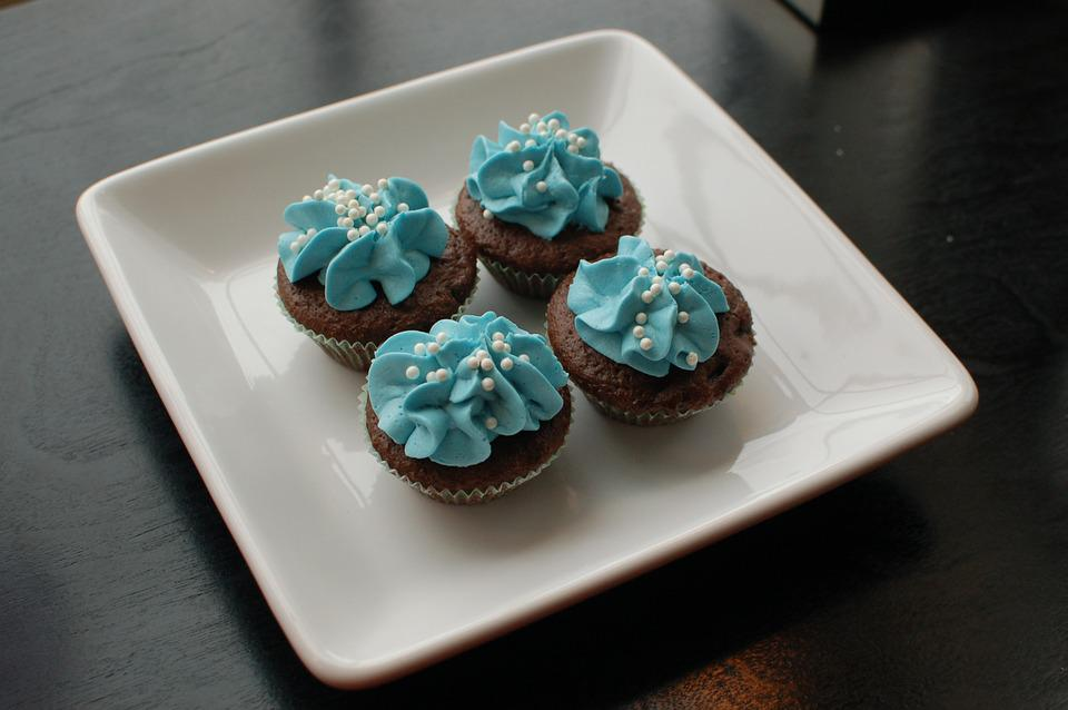 Cupcakes, Plate, Blue, Dessert, Frosting, Sprinkles