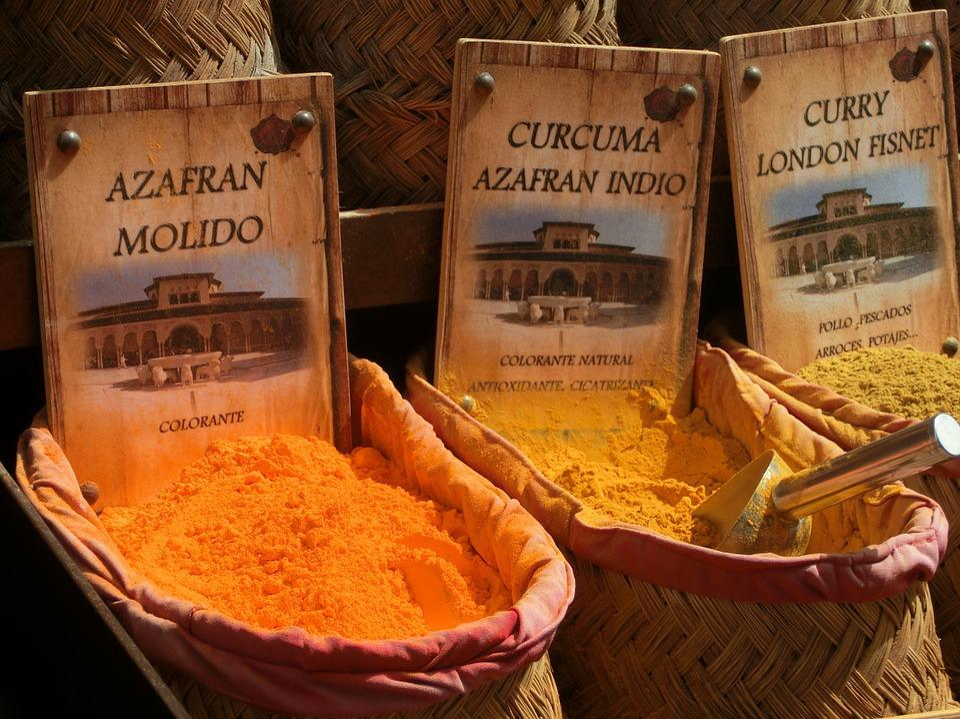 Saffron, Curcuma, Curry, Spices, Powder, Color, Market