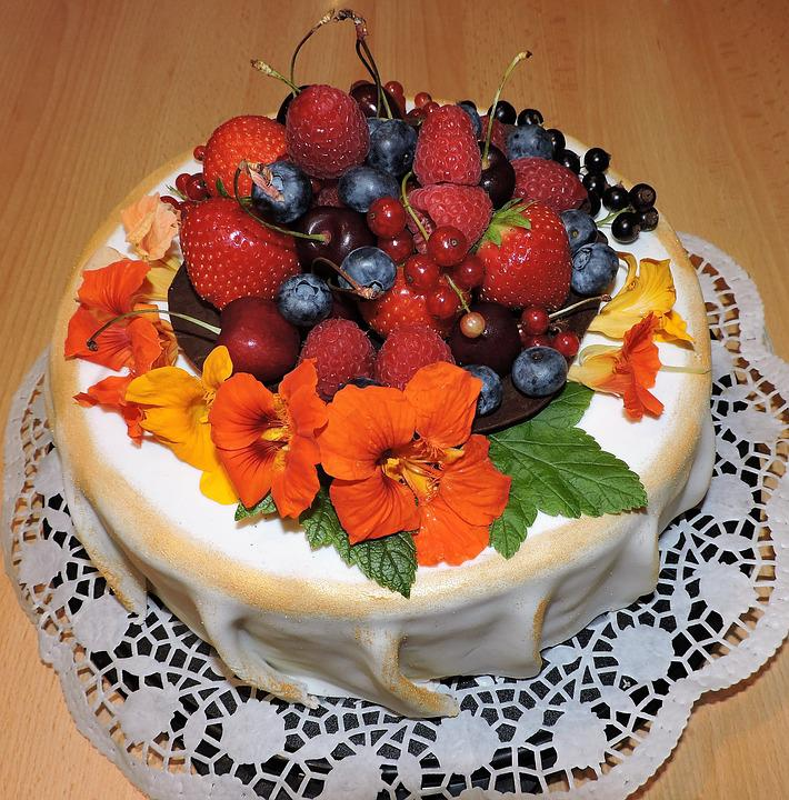 Cake, Fruits, Cherries, Blueberries, Currants