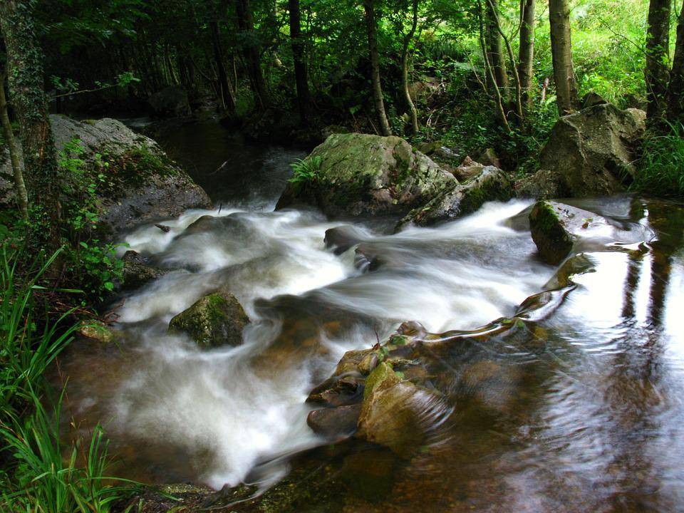 River, Stream, Current, Water, Landscape, Waterfall