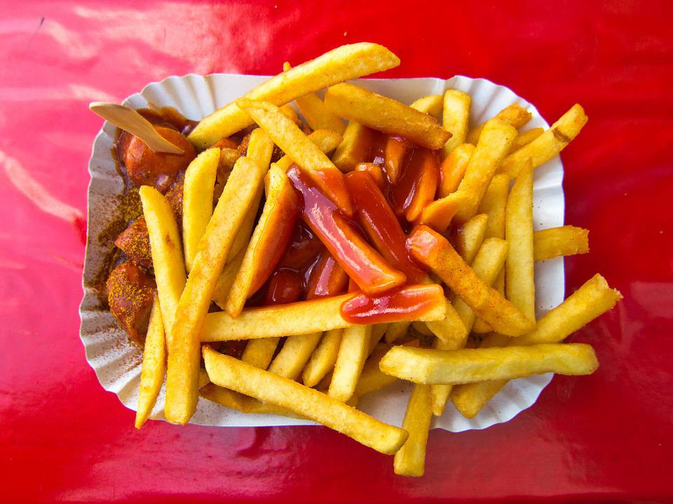 Currywurst, French Fries, French, Ketchup, Eat