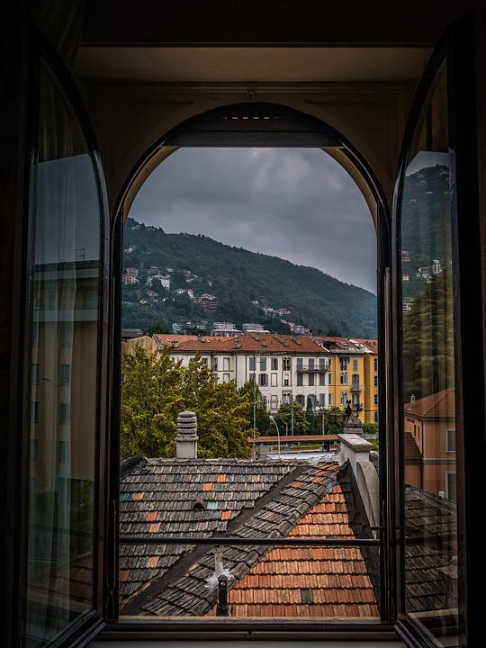 Window, Outlook, Mountains, Curtain, Architecture