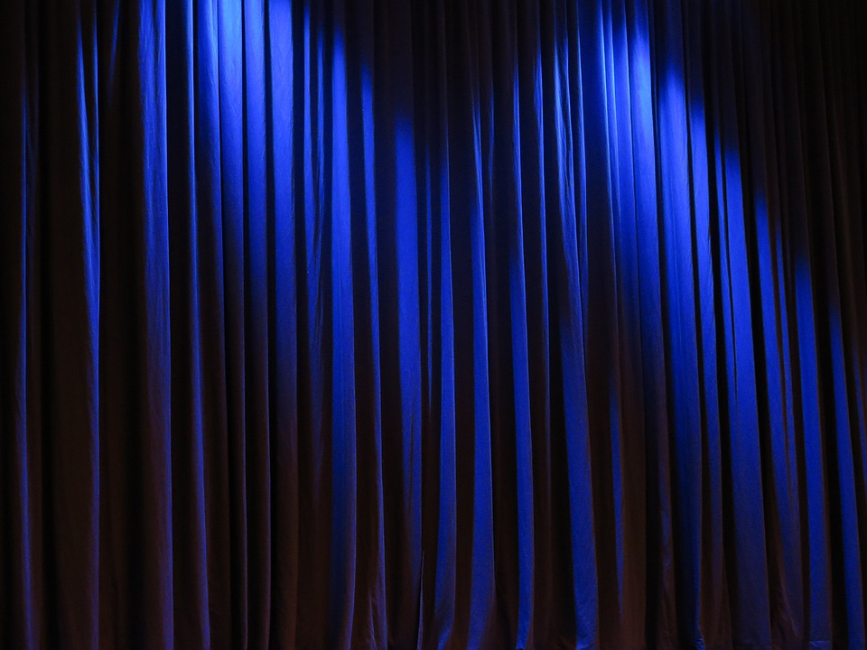 Curtain, Theater, Velvet, Blue Vorührung, Stage, Occurs