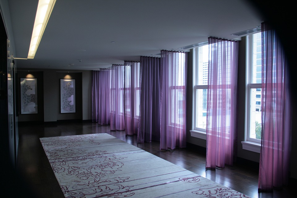 Hallway, Mysterious, Ominous, Purple, Sheer, Curtains