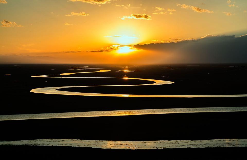 Prairie, River, Stream, Curved, Sunset, Sunrise, Nature