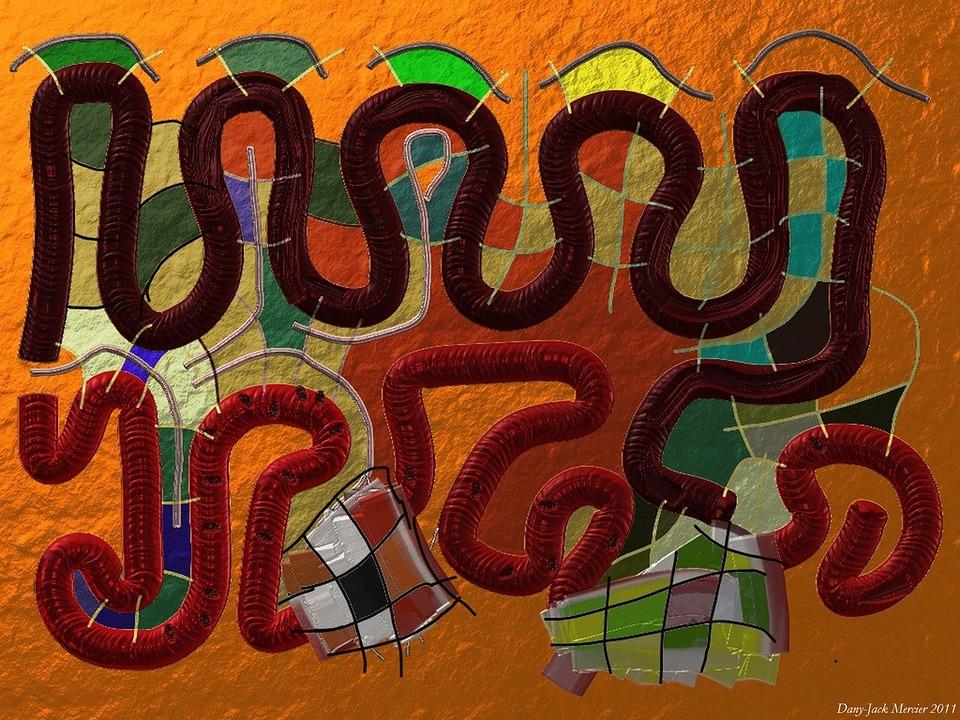Snake, Worm, Orange, Curves, Art, Painting, Visual