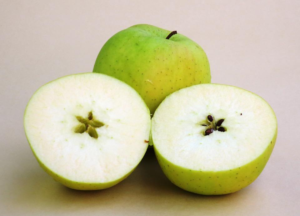 Apple, Apples, Fruit, Golden, Cut, Yellow Apple