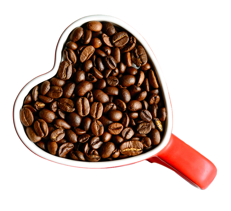 Coffee Beans In Cup, Isolated, Coffee, Cut Out, Drink