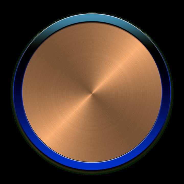 Button, Circle, Icon, Round, Metallic Button, Cut Out
