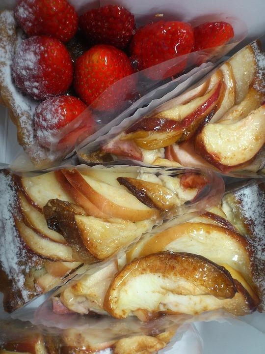 Cake, Strawberry, Apple, Cut, Triangle, Pie