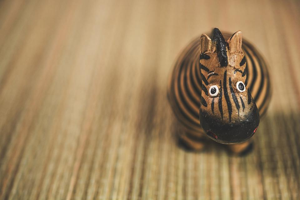 Zebra, Toy, Wooden, Figure, Animal, Cute, African, Wood