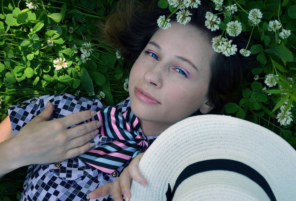 Clover, Girl, Tenderness, Cute, Femininity, Grass