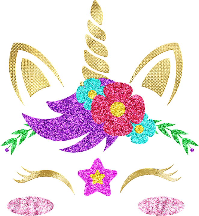 Unicorn Face, Gold Foil Unicorn, Horn, Cute, Fantastic