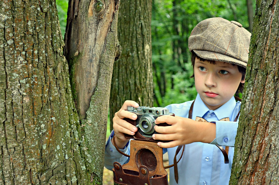 Boy, Kids, Photographer, Retro, Cap, Baby, Cute, Nature