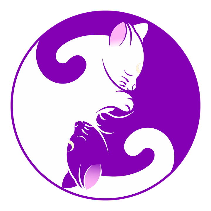 Cat, Yin Yang, Kitten, Symbol, Purple, Yin, Yang, Cute