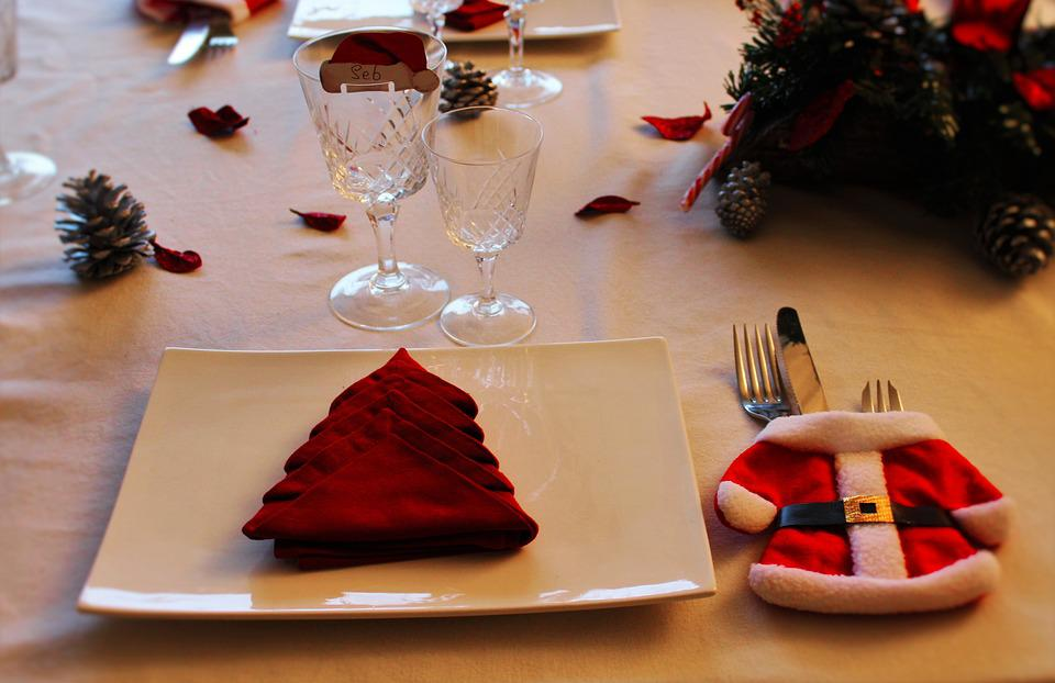 Christmas Table, Cutlery, Fir, Red And White, Christmas