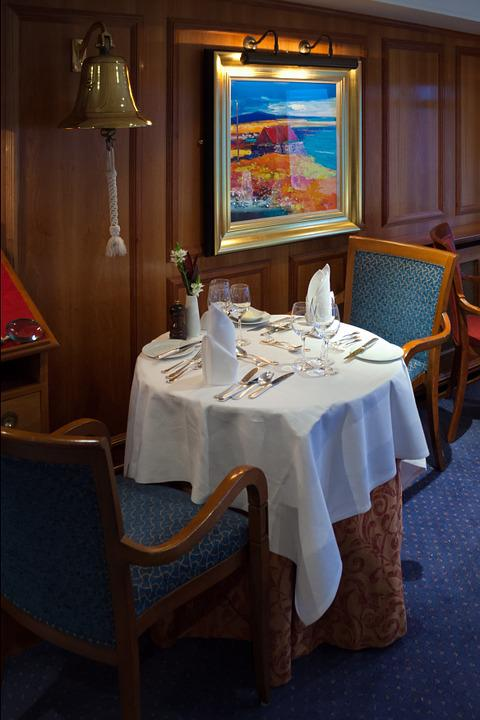 Cruise Ship, Dining Room, Table, Chairs, Cutlery