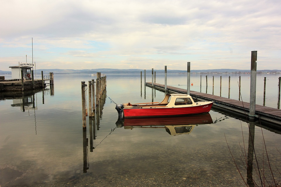 Boat, Port, Lake, Water, Red, Cutter, Piles, Create