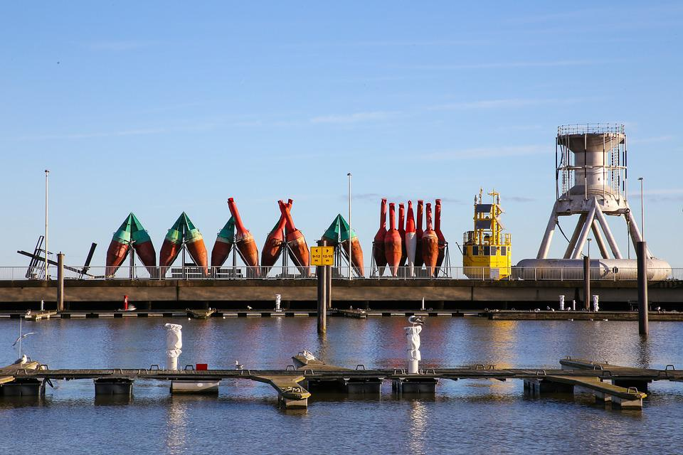 Port, Buoys, Industry, Cuxhaven