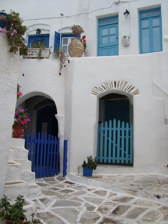 Greece, Cyclades, Lane, Blue, Holiday, Island, Travel