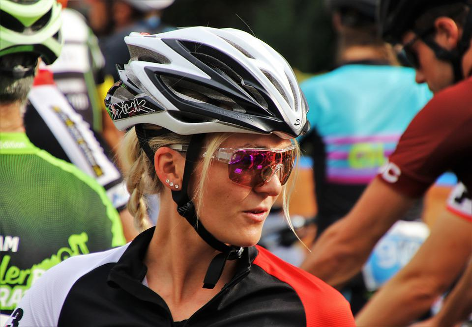 Cyclist, Blonde, Cycle, Emotions, Young, Helmet, She