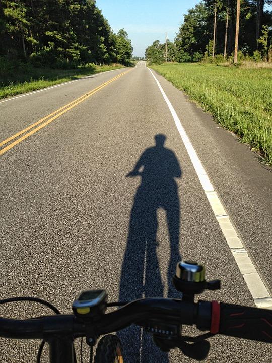Shadow Of Cyclist, Rural Road, Cycling, Road, Cyclist