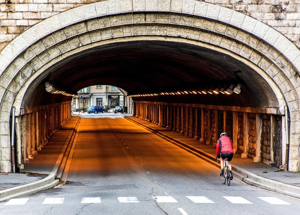 Tunnel, Cyclist, Riding A Bike, Roadway, Crosswalk