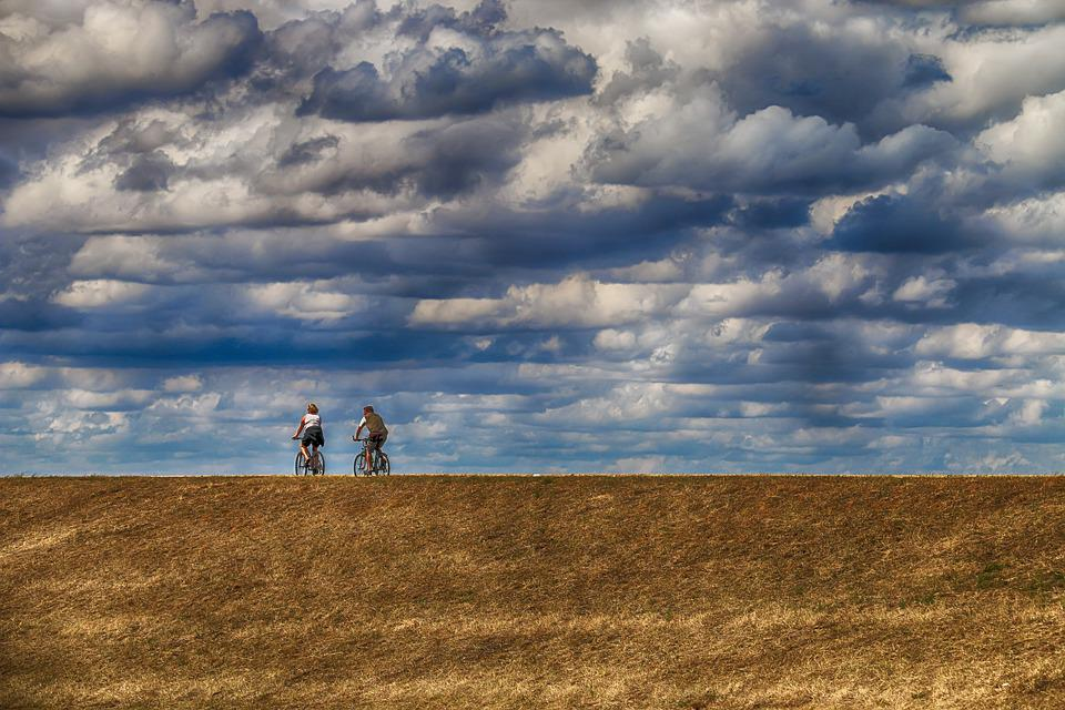 Sky, Cloudy, Clouds, Weather, Bikes, Cyclists