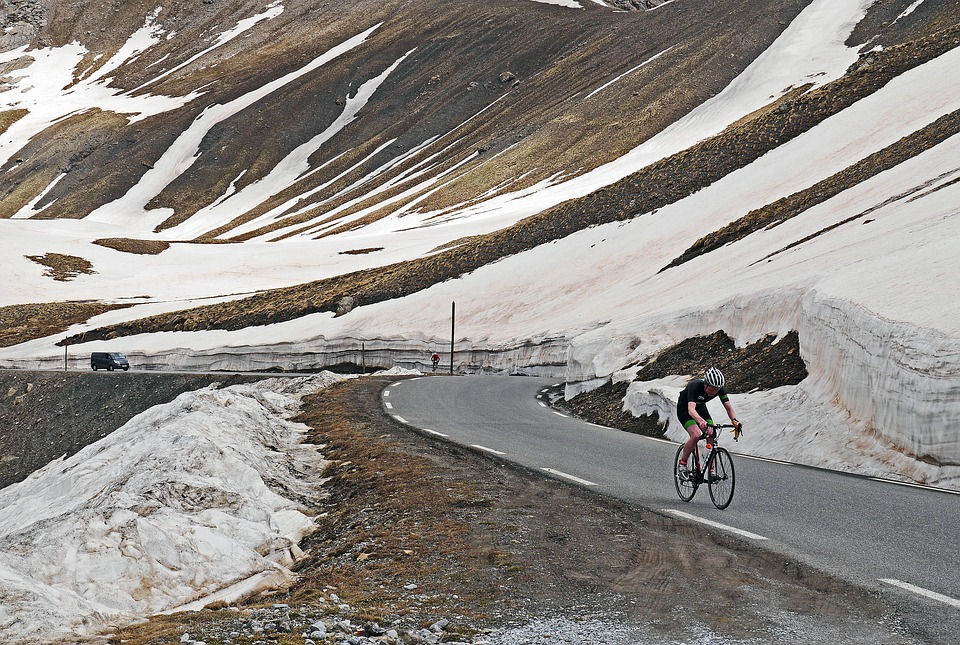 Col De La Bonette, June, Cyclists, Pass Road
