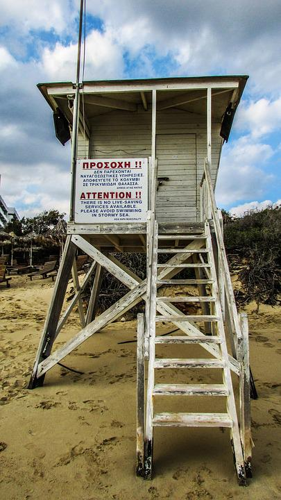 Lifeguard Tower, Beach, Sea, Safety, Cyprus, Ayia Napa