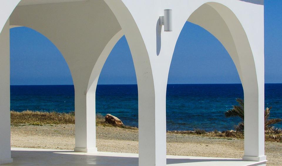 Church, Architecture, White, Blue, Cyprus