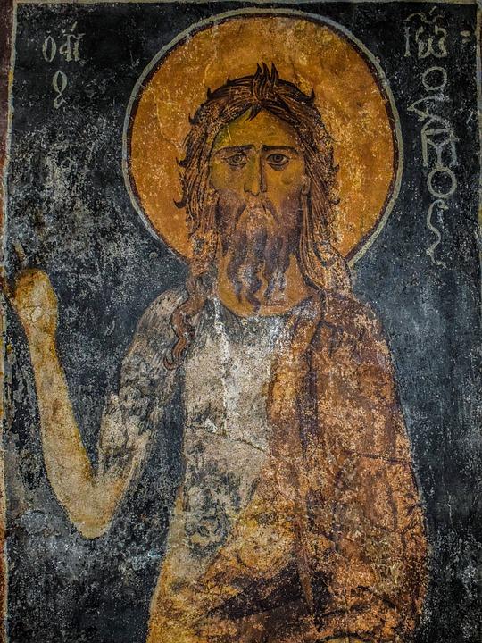 John The Baptist, Iconography, Damaged, Aged, Cyprus