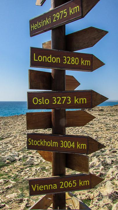 Cyprus, Ayia Napa, View Point, Distance Signs