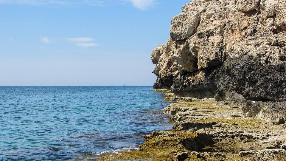 Cyprus, Xylofagou, Rocky Coast, Cliffs, Sea