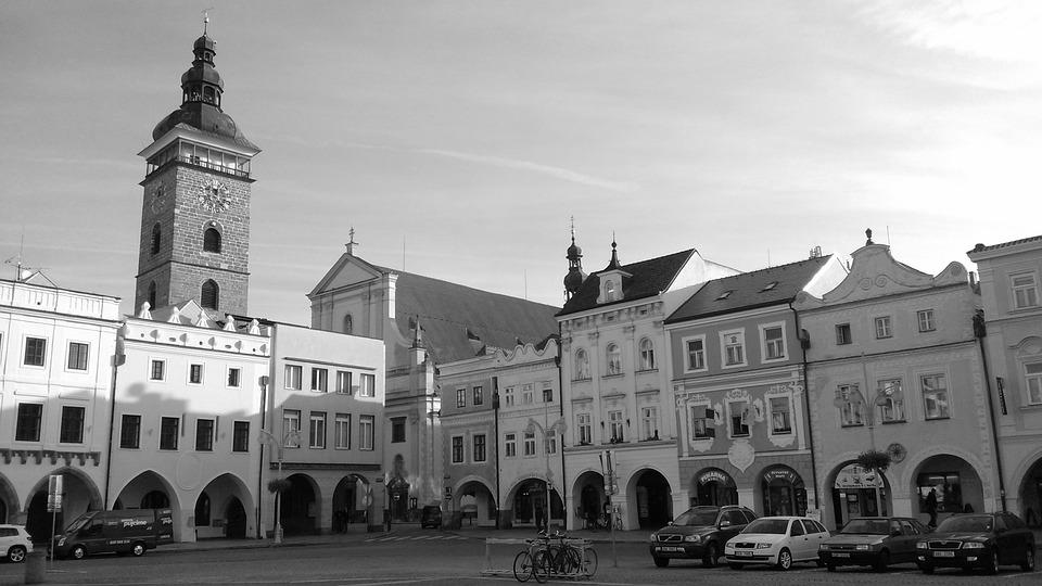 Square, Czech Budejovice, Black Tower, Historical