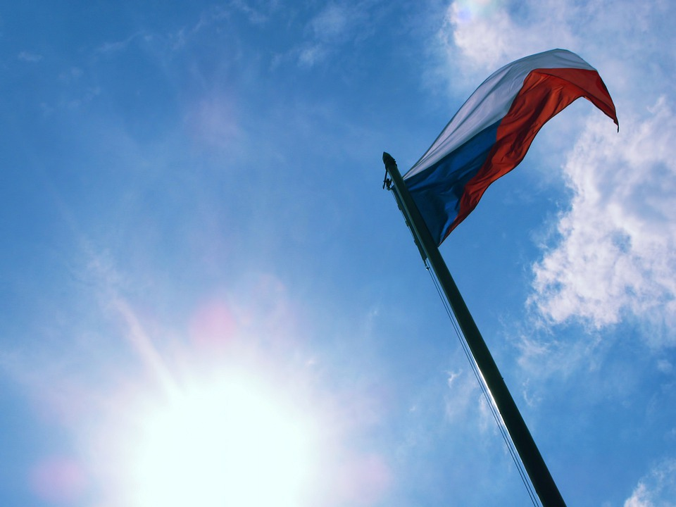Czech Republic, Flag, Banner, Sky, Sun, Colors