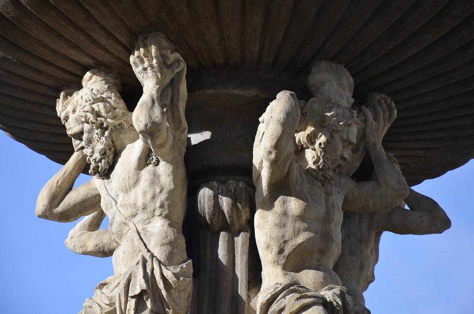 Fountain, Square, Czech, Budějovice, Statuary