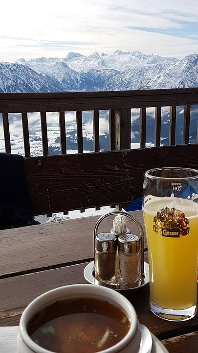 Dachstein, Mountains, Winter, Panorama, Drink, Oup